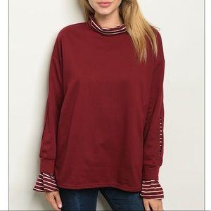 Burgundy Long bell sleeve mock neck knit tunic top